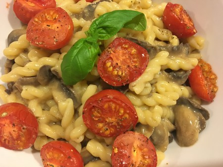 Creamy Mushroom Pasta with Roasted Tomatoes