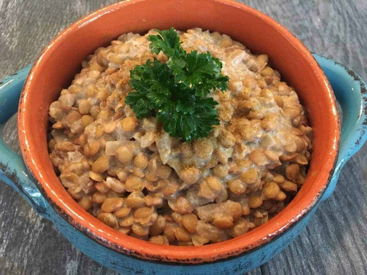 Oil Free Creamy Lentils in Savory Onion Gravy