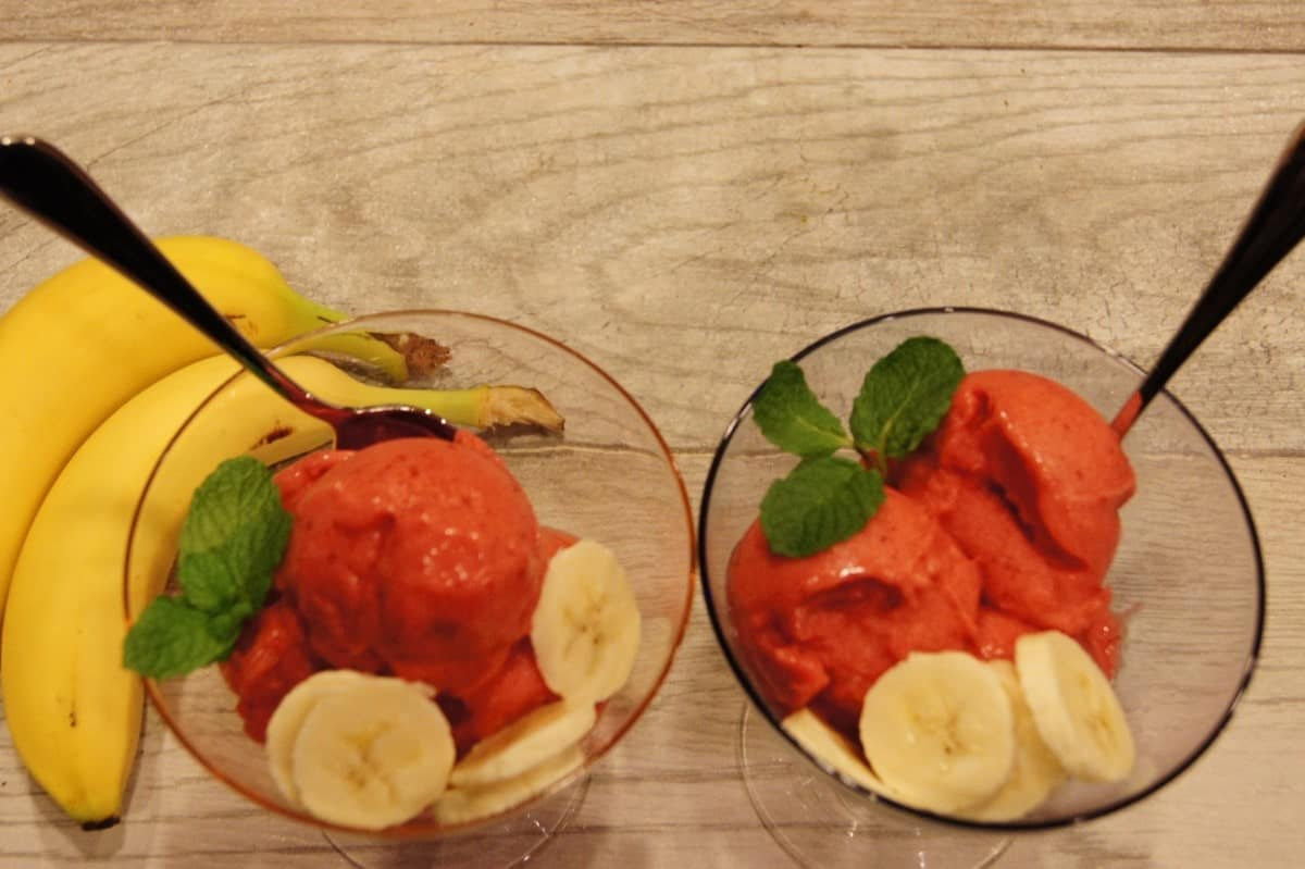 Fat-Free Strawberry Banana Sorbet