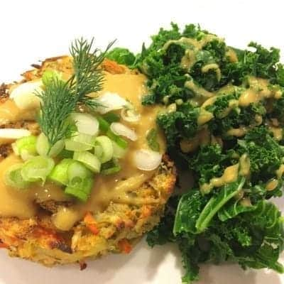 Oil-Free Baked Potato Vegetable Pancakes with Steamed Kale