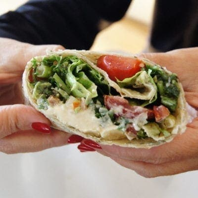 Oil-Free Hummus and Tabbouleh Wrap