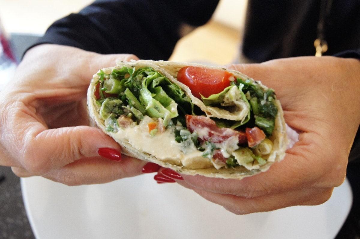 Oil-Free Hummus and Tabbouleh Wrap
