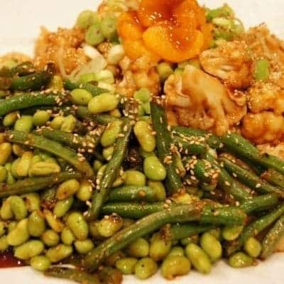 Oil-Free Orange Cauliflower with Green Beans and Mame
