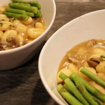 Oil-Free Potato Gnocchi in Marsala Sauce with Roasted Asparagus