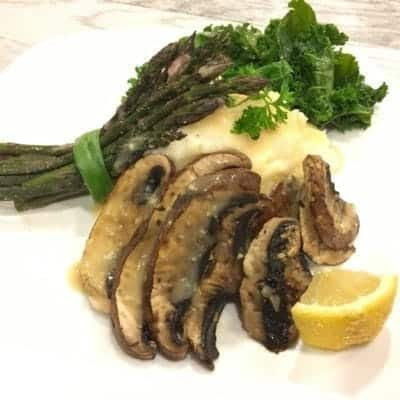 Vegan Portobello Piccata on a Bed of Creamy Mashed Potatoes