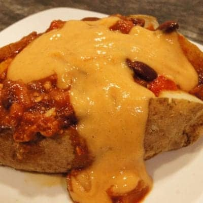 Oil-Free Vegan Chili Cheese Stuffed Baked Potato