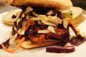 BBQ Tempeh Sandwich with Maple Dijon Slaw