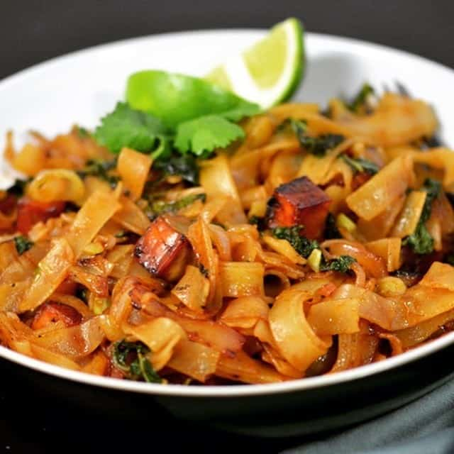 Vegan Spicy Thai Drunken Noodles with Seared Tofu | Kathy's Vegan Kitchen
