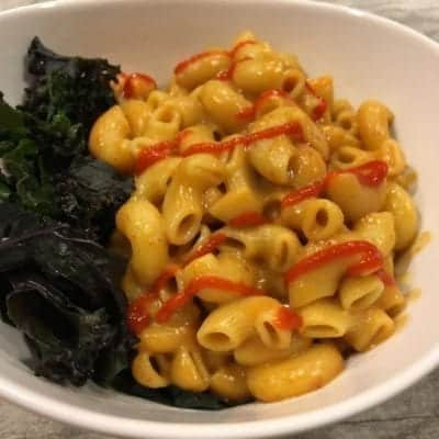 Vegan Buffalo Mac and Cheese with Braised Purple Kale