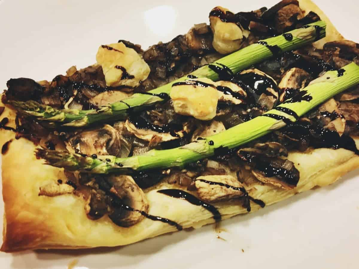 Vegan Asparagus Mushroom Tart with Balsamic Glaze