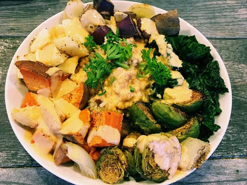 Winter Roasted Root Vegetable Bowl with Spicy Tahini Sauce