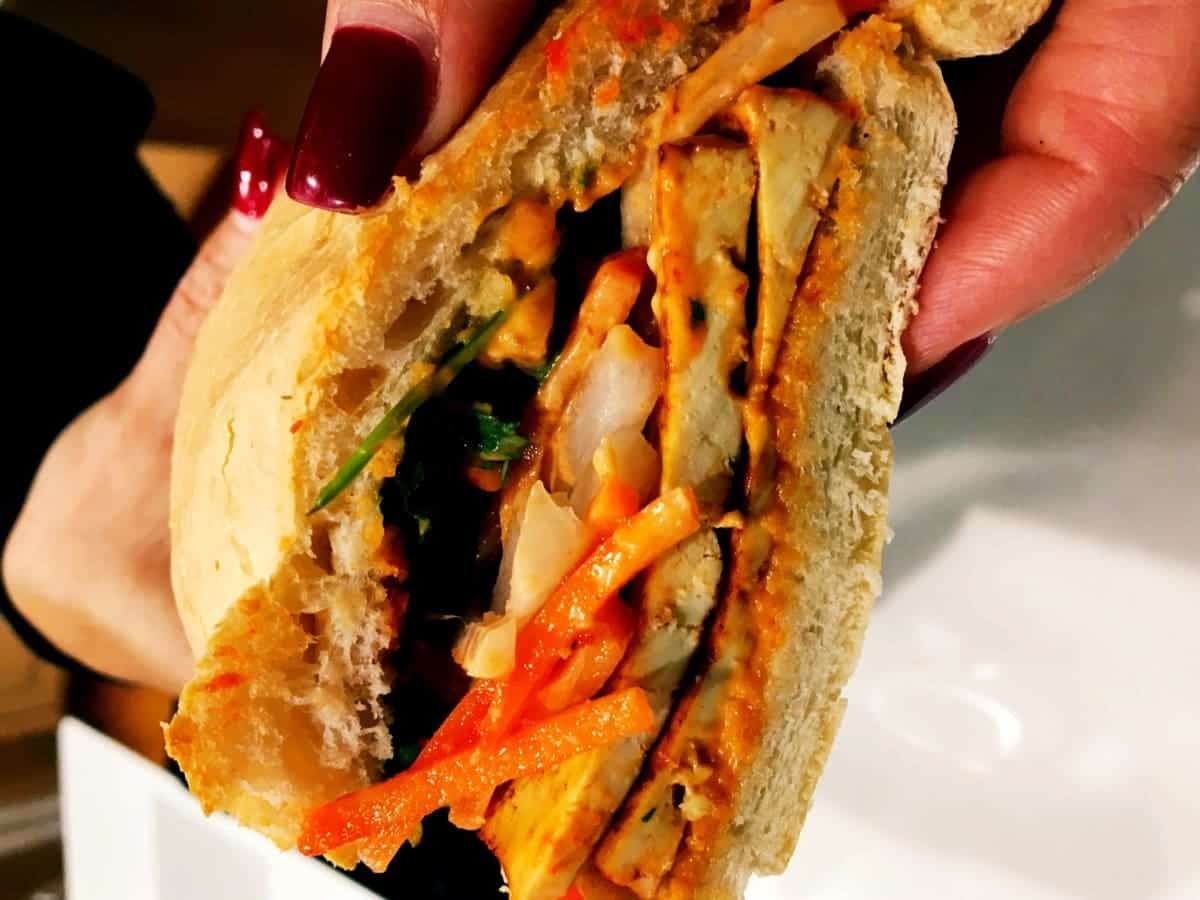 Vegan Vietnamese Bahn Mi Sandwich with Seared Sriracha Tofu