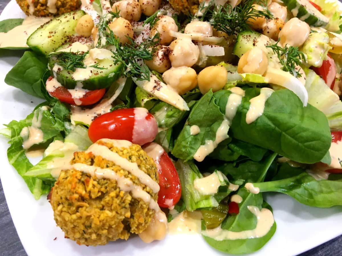 Oil Free Baked Falafel Salad with Lemony Tahini Dressing