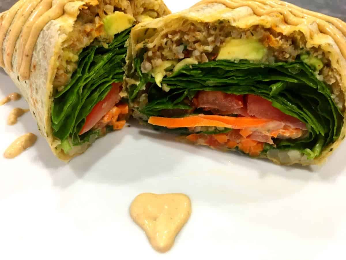 Spicy Vegan Lentil Wrap with Baja Sauce