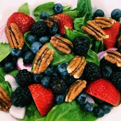 Berry Blast Spinach Salad with Fat-free Viniargette Dijon Dressing: Eat to Live