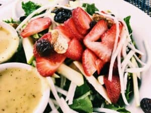 35449221115_f012d73729_o-2-300x225 Strawberry Fields Spinach Salad with Vegan Oil-Free Poppy Seed Dressing