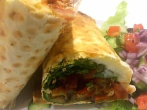 44937731445_5f5d84c976_o-2-300x225 Roasted Vegetable and Hummus Grilled Lavash Wrap